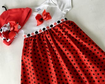 6-9 mo. onesie ladybug dress with matching hat. Free Shipping