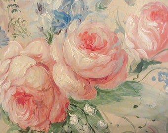 1930's Hand Painted Roses Headboard