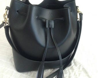 Black genuine leather bucket bag