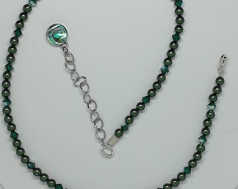 Scarabaeus green swarovski pearl and emerald AB crystals necklace,choker style