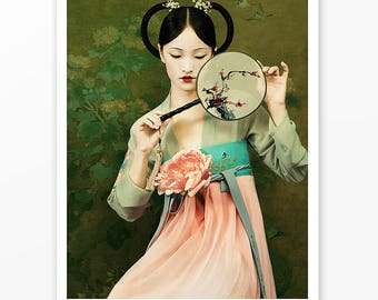 """Asian Traditional Dress Poster Print """"Claire"""" by Jingna Zhang / Peonies, oriental antique, home office living room wall decor art, gift"""