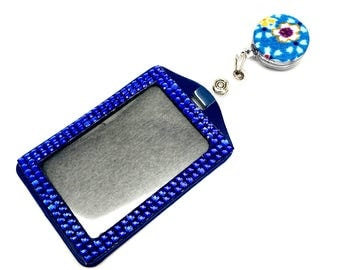 SALE !!!! Blue Flower Fabric Button Retractable ID Badge Reel & Sparkle Rhinestone Vertical ID Badge Holder Set