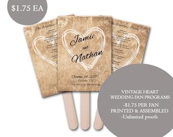 Vintage Heart Wedding Fan Program, Modern Wedding Program fans, Wedding program fans, personalized wedding fans, rustic wedding