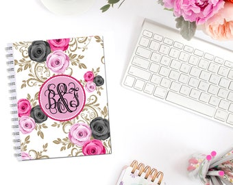 Elegant Roses II Planner Cover Personalized Monogram Dashboard Erin Condren Recollections A5 Personal Pocket Personal