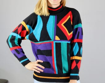 80s Sweater. Abstract Sweater. Geometric. Rainbow. 80s pullover. 80s clothing. women. Ladies. Sweater. 1980s. Vintage Sweater. turtleneck