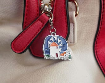 Mykonos Island Windmill Enamel Zipper Charm Purse Charm Handbag Charm Greek Cyclades Zipper Pull