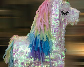 Custom Made & Beautifully Crafted Iridescent Sprakley Rainbow Unicorn / Pony Piñata