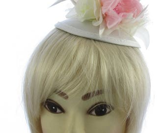 Cream and pink flower hair fascinator on a juliet cap and headband, Weddings, Races, Ladies Day