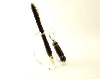 Ebony Pen and Keychain Set,  Ebony Wood, Made in Kentucky