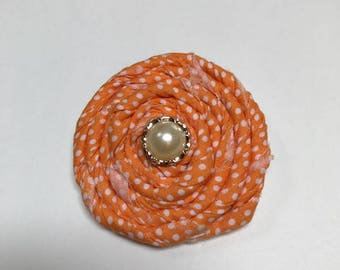 Orange and White Rolled Fabric Flower