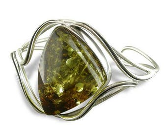 Large Green Amber With Waves Sterling Silver Bangle