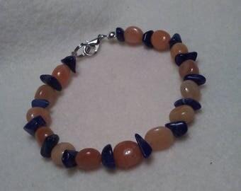 Carnelian and Sodalite Beaded bracelet