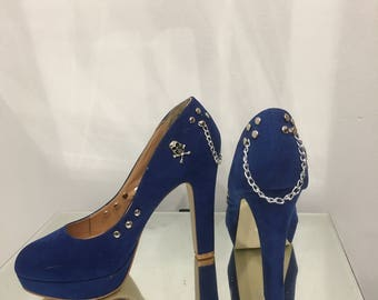 Platform shoes studs skulls and chains, punk glamour pumps
