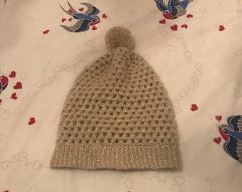 Slouchy beany hat - crochet hat - bobble bat
