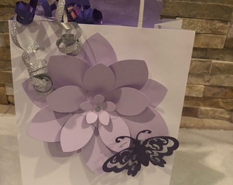 Baby Shower  - Lilac- Silver Flower Favor Bags