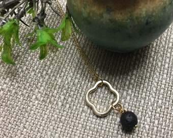 Clover Charm with Lava Bead Necklace