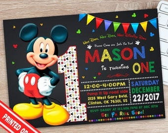 Mickey Mouse Birthday Invitation - 1st Birthday Mickey Mouse Invitation -