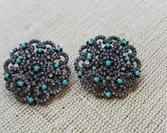Earring With Turquoise and Zirconia