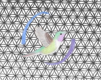 Hummingbird in the Flower of Life