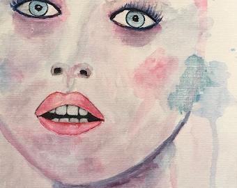 Watercolor 9 x 12 on canvas panel / DESIRE canvas Panel