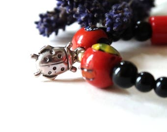 Lady Bug Bracelet | red and black circle beads bracelet | recycle jewellery | new life jewelry | summer spring accessories | gift for her