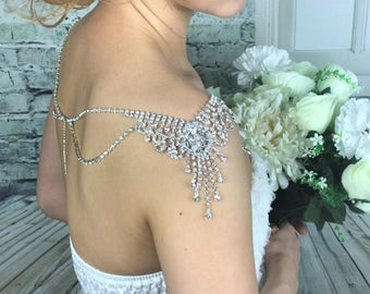 Crystal shoulder necklace bridal shoulder jewelry rhinestone necklace wedding jewelry bridal straps necklace crystal bolero body jewellery