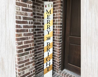 Merry Sign, Merry Wood Sign, Merry Bright, Merry and Bright Sign, Christmas Signs, Christmas Decor, Gold Christmas Decor, Gold Holiday Sign