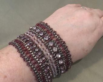 Vintage  Beaded Wide Cuff Bracelet