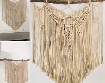 Wall hanging wood and rope about 80 cm high