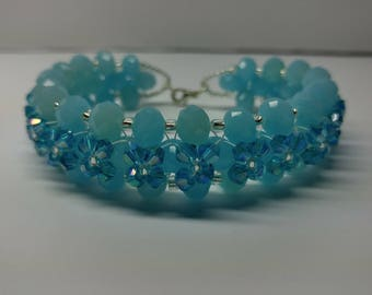 Turquoise and blue swarovski crystal bracelet