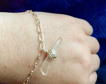 Wire Wrapped Clear Seaglass Silver Bracelet