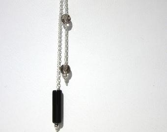 Minimalist Onyx & Smoky Quartz Necklace