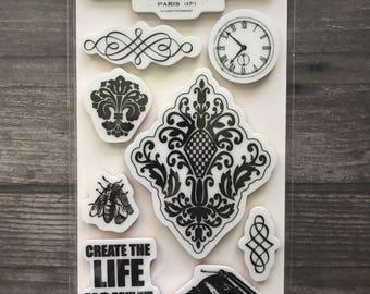Fiskars Maison Rubber Cling Stamp Set