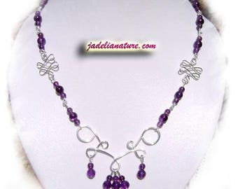 Amethyst necklace and silver plated wire