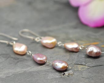 Baroque pearl earrings, Dangle earrings, colorful pearls, sterling silver, gift for her