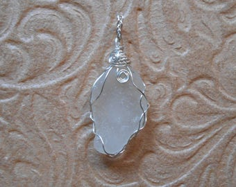 Beach Glass and Silver-Plated Wire Wrap Pendant