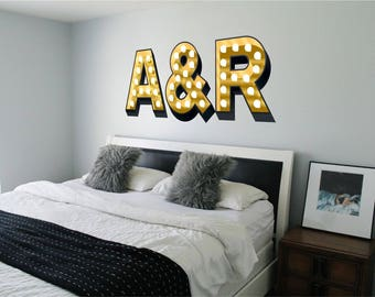 INITIALS Light Up Illuminated Effect Letters Trendy Wall Sticker Decal Art  Graphic Couple