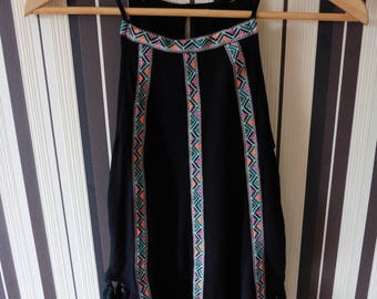 Vintage Black Top/Top With Ribbon/Tunk Top With Ornament/Boho Top/Tunk Top With Tassels