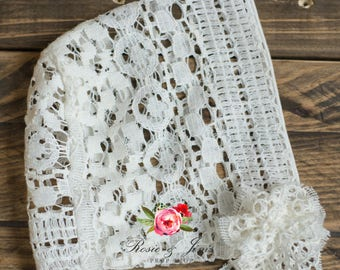 One of a kind cotton lace newborn bonnet photography prop FREE UK POSTAGE