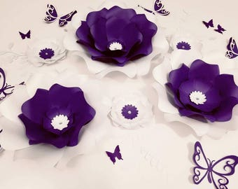 Paper flowers purple wall decor. Large purple paper flower wall. Nursery white flowers wall. Wedding flowers wall. Baby shower backdrop.
