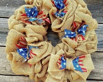 Handmade Burlap Americana Wreath