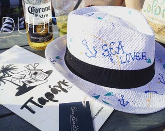 Hand Painted Summer Hat (Sea Lover)