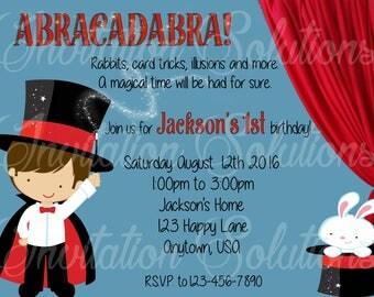 Magic Show Birthday Party Invite/ Magic Themed Party Invitation Gender Neutral