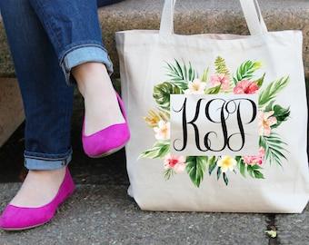 Tropical print monogrammed tote bag - initial totes - bridal shower - bridal gifts - bridesmaid totes - personalized bridesmaid - hen party