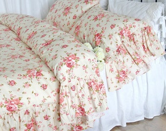 Shabby Chic Ruffled Floral Duvet Cover Bedding Sets Cotton Twin Full Queen King