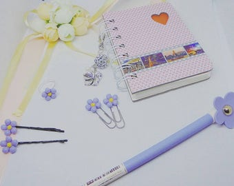 Flower girl gift set, gift set, gift, wedding gift, flower girl gift, grips, paper clips, pens, book, charm, ring, (for ybotchwayl)