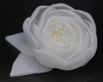 Flower brooch made of organza, ivory