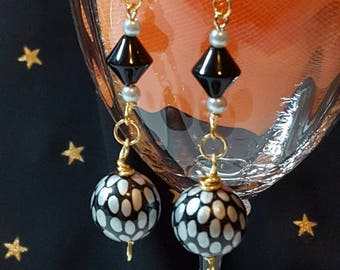 Black n Silver Ball Earrings with Gold Tone Accents