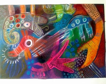 "Acrylic on Canvas - Title ""Title Title""- Yael Mancilla Gewölb- 2.00 x 2.00 mts/ AVAILABLE"