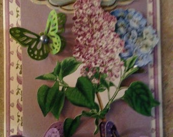 Happy Birthday Card/Handmade Card/Floral/3D/Features a Flower Bouquet Surrounded by Green and Purple Butterflies.. Birthday Greeting at Top